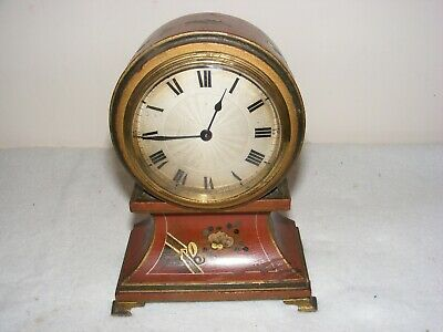 Antique Swiss Made Buren Balloon Mantle Clock Chinoiserie Decoration Red Lacquer