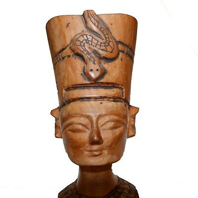 Huge-Vintage Egyptian Hand Made Wood Wooden Statue-Cleopatra