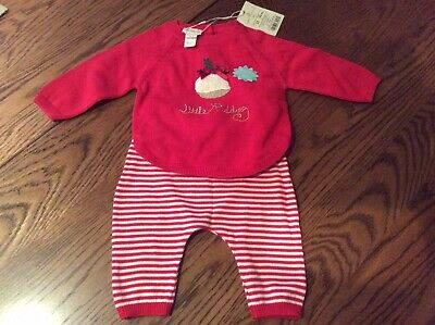Monsoon Baby Girl/Boy Knitted Christmas Outfit Age 0-6 Months Bnwt