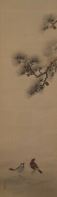 #2171 Japanese Hanging Scroll: Sparrow and Pine Tree