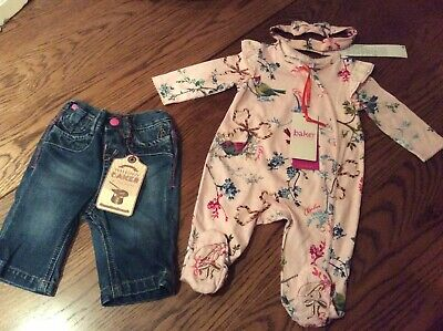 Ted Baker Baby Girls Sleepsuit And Headband And Jeans Age 0-3 Months Bnwt