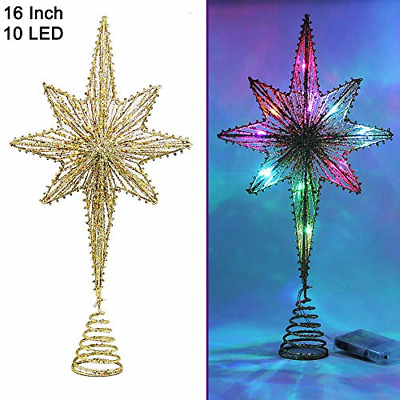 Twinkle Star Lighted Christmas Tree Topper, Bethlehem Star Treetop with 10 LED H