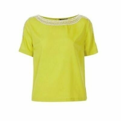 Topshop ladies girls casual party pretty lime top beads sequins beaded, NEW