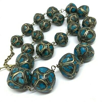 Antique Art Deco and pave set natural matrix turquoise necklace