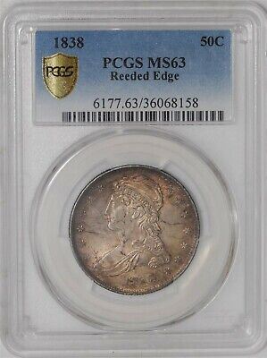 1838 Capped Bust Half 50c Reeded Edge  MS63 Secure Plus PCGS   939020-5