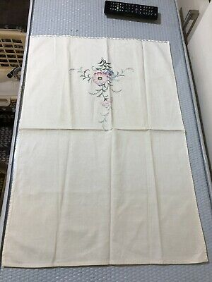 Embroidered Cotton Linen Fabric English Meadow Garden Floral Table mat Placemat