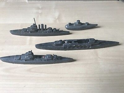 Rare war plan lead warship models 4 figures