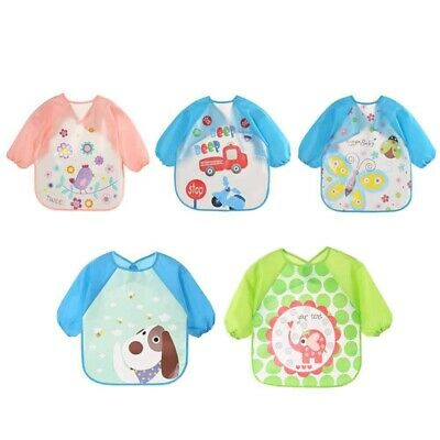 1X(Baby Bib, Waterproof Long-Sleeved Bib, Apron Children's Shirt 5 Pieces, D1U1