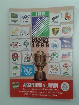 ARGENTINA V JAPAN 1999 Rugby World Cup POOL D RUGBY UNION PROGRAMME