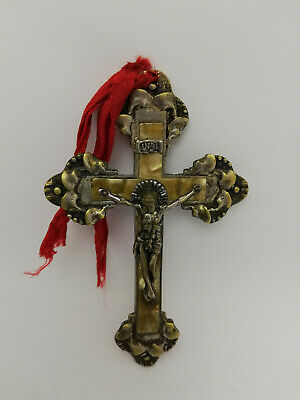 Vintage Antique Large Brass Silver Plated Crucifix Cross Jesus Pendant