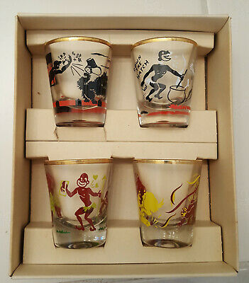 Vintage Federal Glass Rumpus Set - 4 Shot Glasses - Politically Incorrect - New