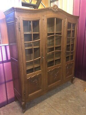 French Carved Oak Vitrine Glass Cabinet Louis XV Style
