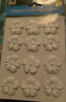 12 White satin Flower Embellishments with pearl centre