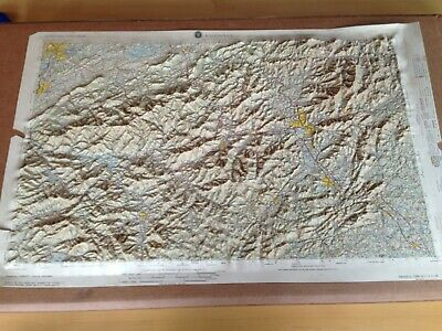 """Hubbard Topographic 1972 Knoxville 3D Raised Geography Map,32"""" x 20"""",V501PNI1701"""