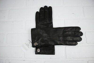 Coach Women's Brown Jax Leather Basic Gloves Sheep Wool Lined Size 7 Small $125