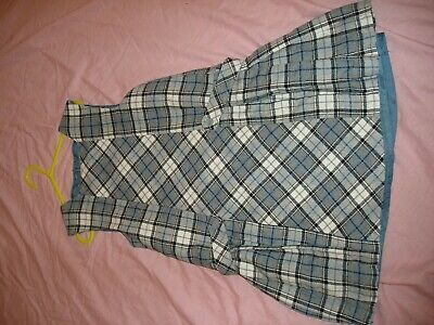Mayoral Girls Pinafore Dress Age 7 Years In Blue Grey Check  Very Smart