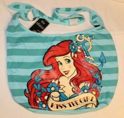 Little Mermaid Ariel Kiss The Girl Crossbody Disney Tattoo Hobo Tote Bag Purse
