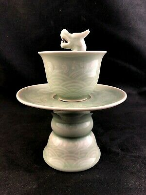 🔷 Chinese Celadon Porcelain Tea TRICK CUP & Stand w/ Dragon Head
