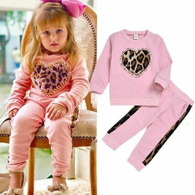 Toddler Kid Baby Girl Tracksuit Leopard Shirt Tops+Pants 2PCS Outfit Set