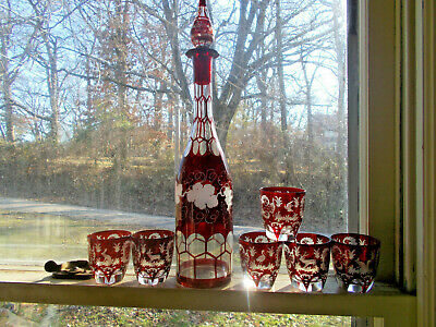 1860s PONTILED RUBY RED FLASHED CUT TO CLEAR BOHEMIAN DECANTER & 6 SHOT GLASSES