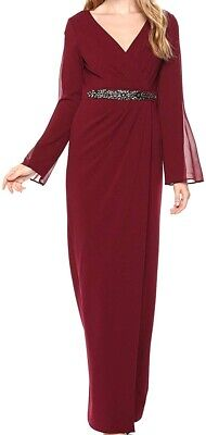 Adrianna Papell Women's Dress Red US Size 6 Gown Embellished-Waist $219 #601