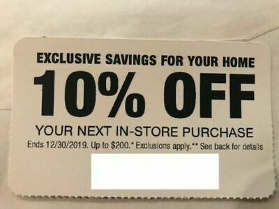Home Depot 10% OFF Coupon -In-store ONLY Save up to $200 - Expires 12/30/2019