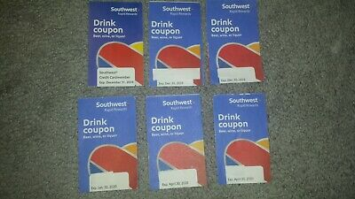 6 Southwest Airlines Drink Coupons - Expires 12/31/2019 and Beyond