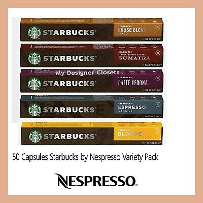 New 50 Capsules Starbucks by Nespresso Coffee Pods Variety Pack MDC