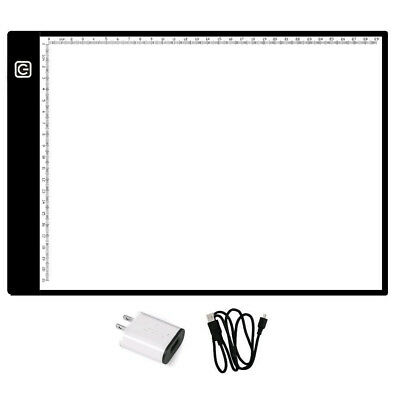 A4 Ultra-thin LED Light Box Tracing Light Pad 3 Brightness Levels with Scale US