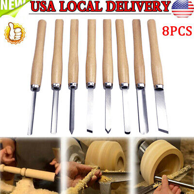 8PC Wood Lathe Chisel Set HSS Turning Tools Woodworking Carving Gouge Skew Spear