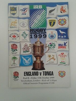 1999 Rugby World Cup - England v Tonga programme (Excellent)