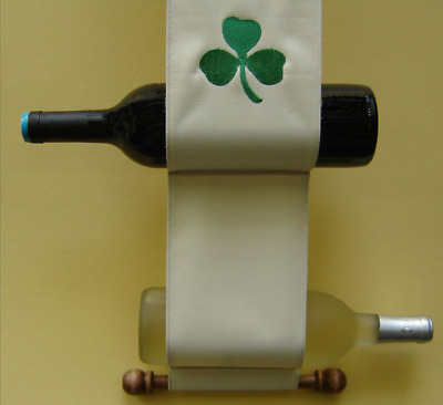 Canvas and Wood Wine Caddy Embroidered Shamrock Irish Luck Home Blessing