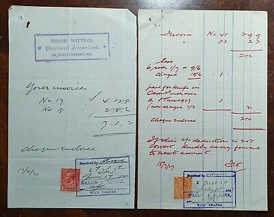 1920 2 x Frank Witting, Chartered Accountant, 20 Bucklersbury, London Invoices