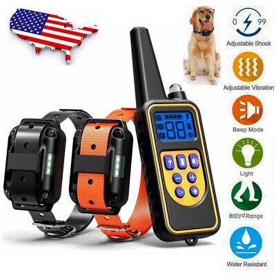 875 Yards Dog Training Electric Shock Collar Rechargeable Waterproof for 2 Dogs