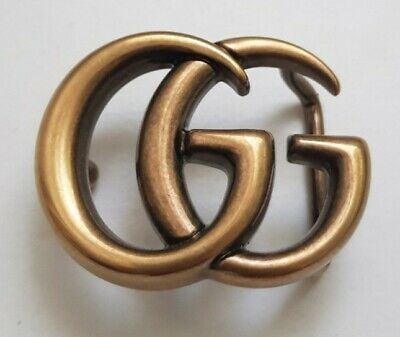 Gucci Belt Buckle Gold Rusty Brass (small) Double G 100% Authentic
