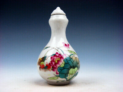 Famille-Rose Glazed Porcelain Snuff Bottle Mandarin Ducks Lotus Themes #12131910