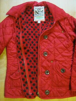 Girls Next Vintage Red Quilted Jacket. Age 11-12 yrs Height 152cm. Spotty lining