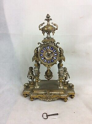 Ornate Japy Freres Mantle Clock With Porcelain Numerals. Gilt & Silvered Case