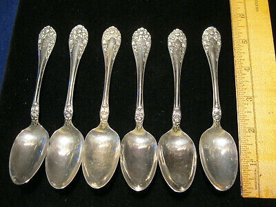 "6 STERLING SILVER ROSE (1898)  5 3/8"" TEASPOONS by WALLACE w/monogram 105 grams"