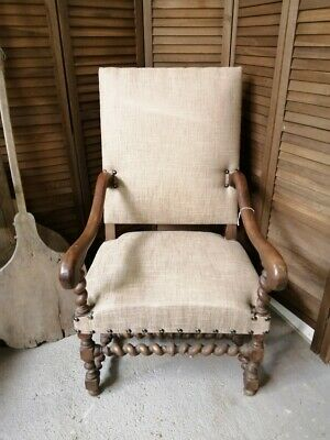 Antique nineteenth century French carved oak mouton throne chair in linen