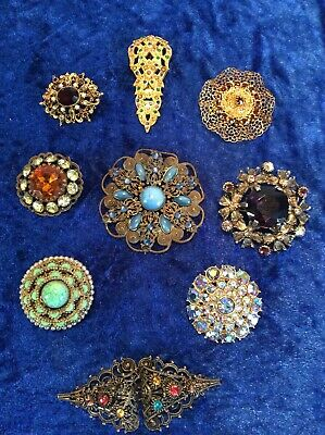 Vintage Costume Jewellery Czech Rhinestone Filigree Brooches + Clasp Job Lot x 9