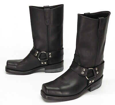 DOUBLE H/H Boots USA 8 D Leather Square Toe HARNESS Motorcycle Boots Vintage VTG