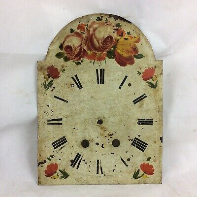 Antique Longcase Clock Face Decorated With Flowers. Reuse / Restoration