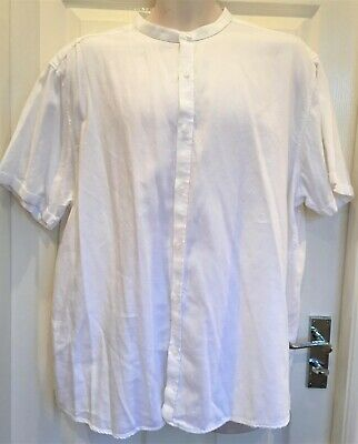 Men's white 100% cotton grandpa collar short sleeved shirt by Peacocks XXL