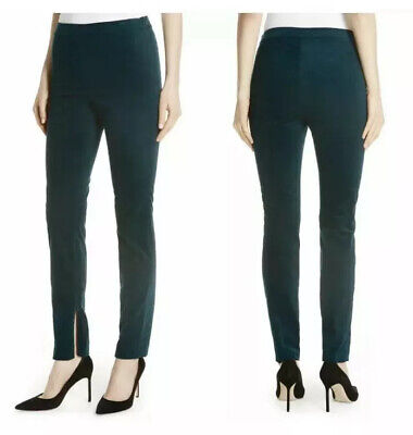 Theory Women's Pants Sz 4 High Waist Zipper Leg Green   Oslo Corduroy NWT $255