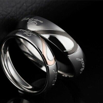 Heart Wedding Promise Couples Ring Stainless Steel Real Love Engagement Band