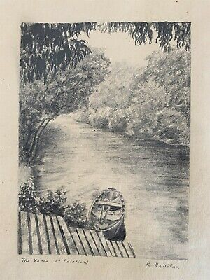 The Yarra at Fairfield by R Hallifax - Original, framed pencil drawing c. 1920