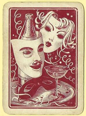 1 VINTAGE Wide Playing swap card PARTY MASKS CHAMPAGNE STREAMERS LS3