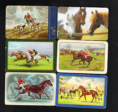 Vintage Swap/Playing Cards - Horses x 6