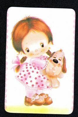 Vintage Swap Card - Cute Girl with Puppy  (BLANK BACK)